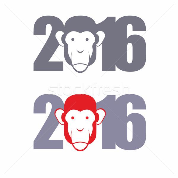 New year 2016. Year of  fire monkey. Vector illustration Stock photo © popaukropa