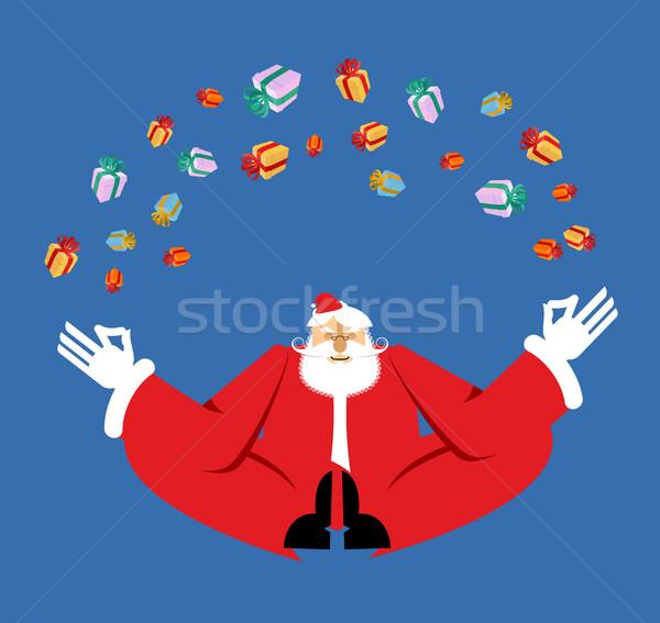 Santa Claus yogi Meditation and gifts. Christmas yoga. New Year  Stock photo © popaukropa