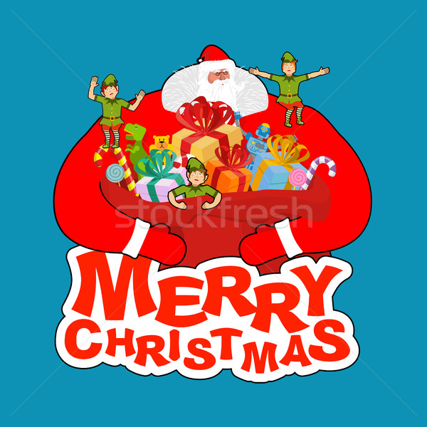 Heiter Weihnachten Tasche elf Helfer Stock foto © popaukropa