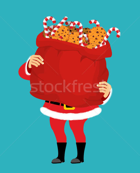 Santa Claus and bag of cookies and peppermint stick. Christmas s Stock photo © popaukropa