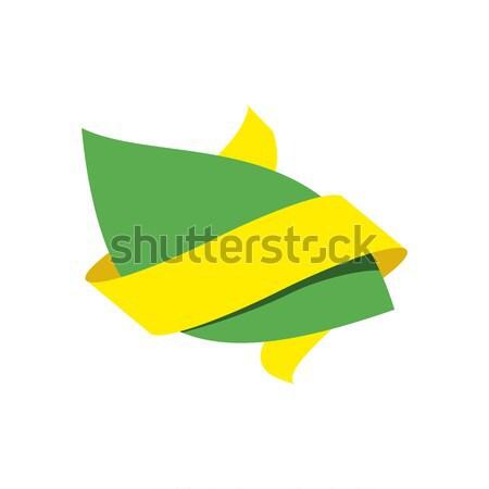 Zöld levél bio embléma felirat természetes termék Stock fotó © popaukropa