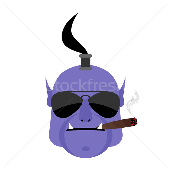 Evil genie with cigar. Aggressive  magic character isolated Stock photo © popaukropa