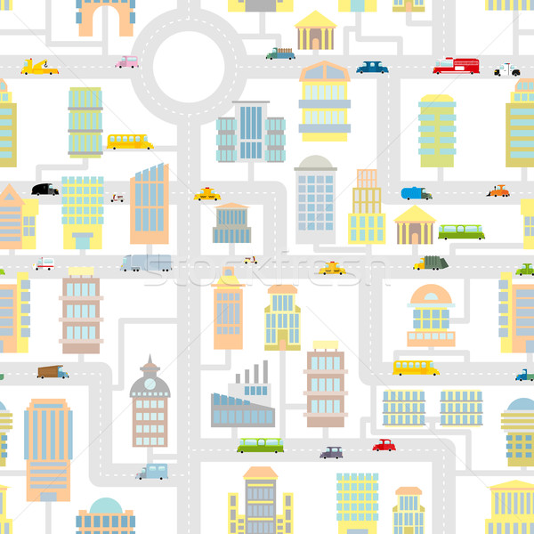 Morning city seamless pattern.  Texture Cartoon cute map for bab Stock photo © popaukropa