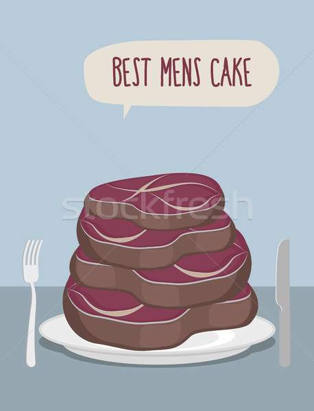 Best mens cake. Cake of steaks. Pieces of meat in  form of a cak Stock photo © popaukropa