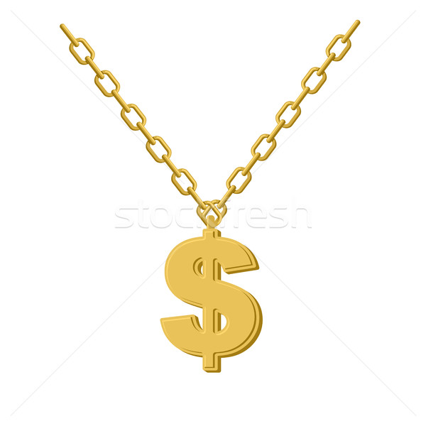 Goud dollar keten decoratie rap kostbaar Stockfoto © popaukropa