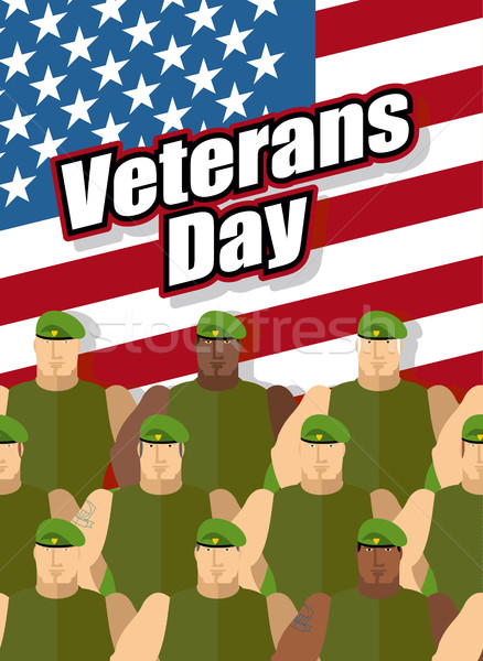 Veterans Day. American soldiers are on background of United Stat Stock photo © popaukropa