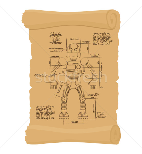 Drawing Robot Ancient scroll. Retro scheme of Technological mach Stock photo © popaukropa