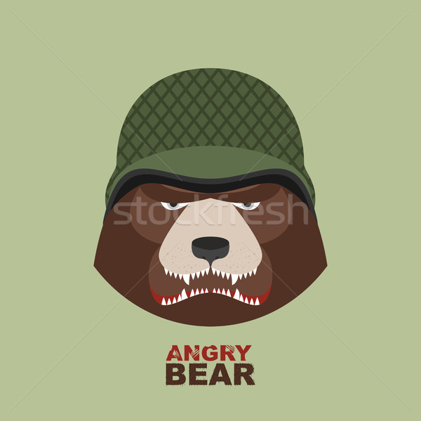 Bear soldier.Head of angry bear in military helmet Stock photo © popaukropa