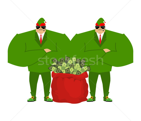 Santa elf and red bag full money. Claus bodyguards. Christmas gu Stock photo © popaukropa