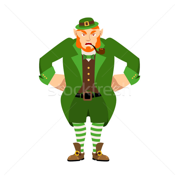 Leprechaun angry. Dwarf with red beard aggressive Emoji. Irish e Stock photo © popaukropa