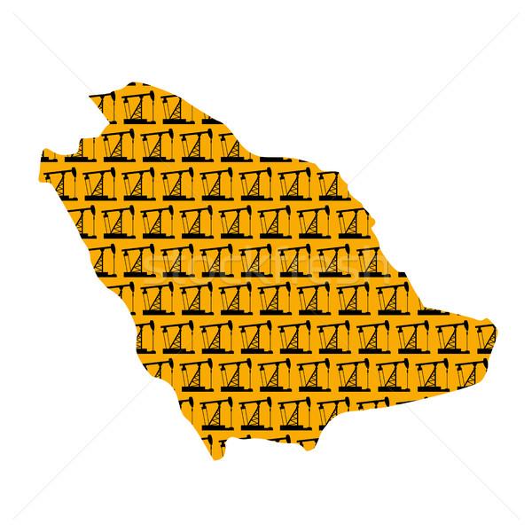 Arábia Saudita mapa isolado Óleo bombear textura Foto stock © popaukropa
