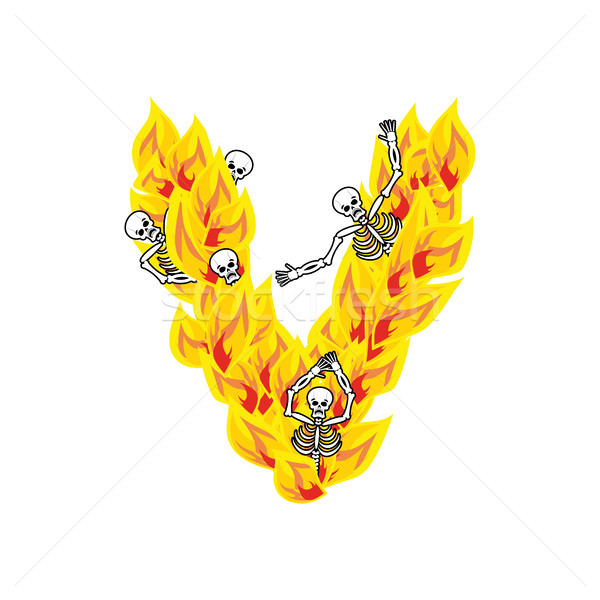 Letter V hellish flames and sinners font. Fiery lettering. Infer Stock photo © popaukropa
