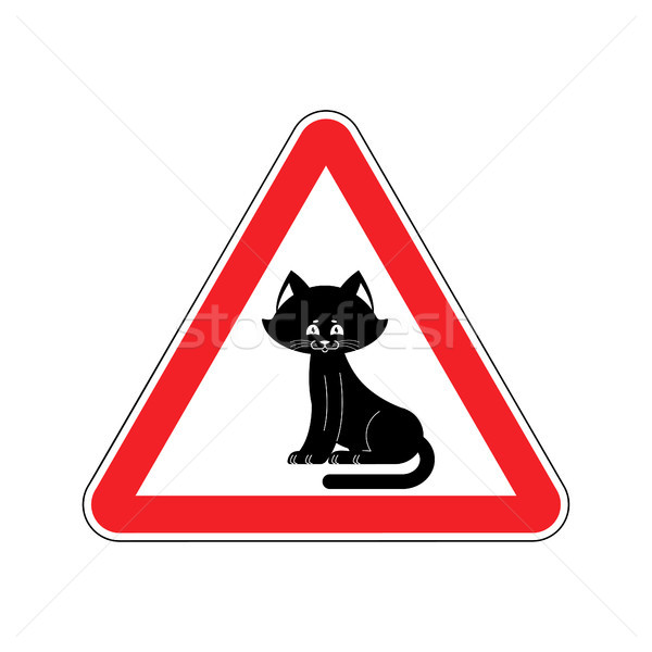 Attention cat. Caution pet. Red triangle road sign Stock photo © popaukropa