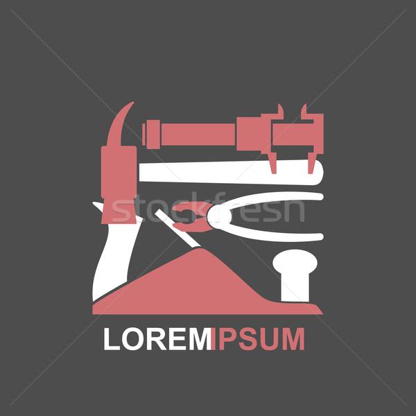 Logo hand tools vector timmerwerk meester Stockfoto © popaukropa