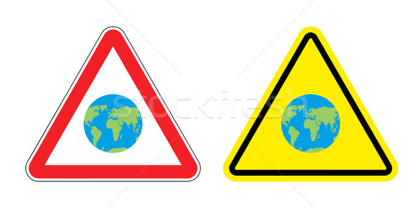Warning sign attention to Earth. Yellow danger world map. Set Ro Stock photo © popaukropa