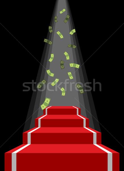 Stok fotoğraf: Kırmızı · halı · yağmur · para · düşen · dolar · kazanan