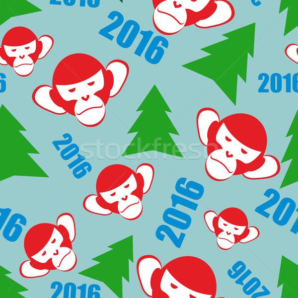 Monkey and a Christmas tree. New year 2016 seamless patetrn. Vec Stock photo © popaukropa