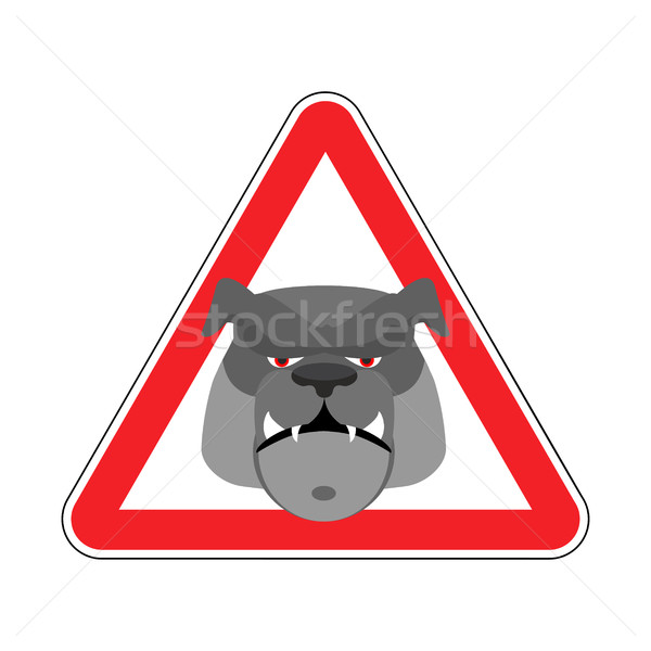 Angry Dog Warning sign red. Bulldog Hazard attention symbol. Dan Stock photo © popaukropa