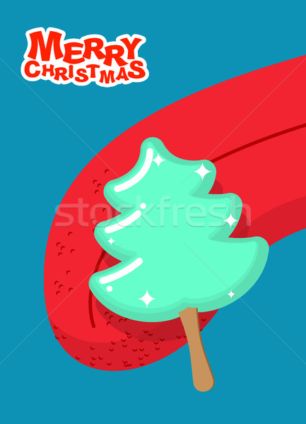 Christmas tree ice cream pistachio lick. Popsicle on stick in fo Stock photo © popaukropa