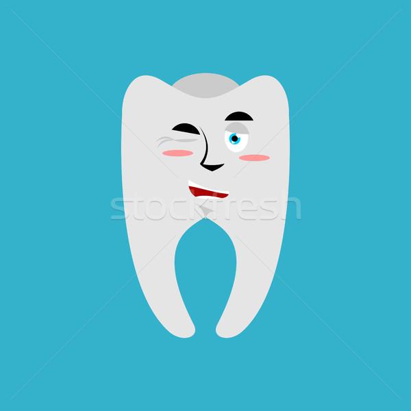 Tooth winks Emoji. Teeth emotion cheerful isolated Stock photo © popaukropa