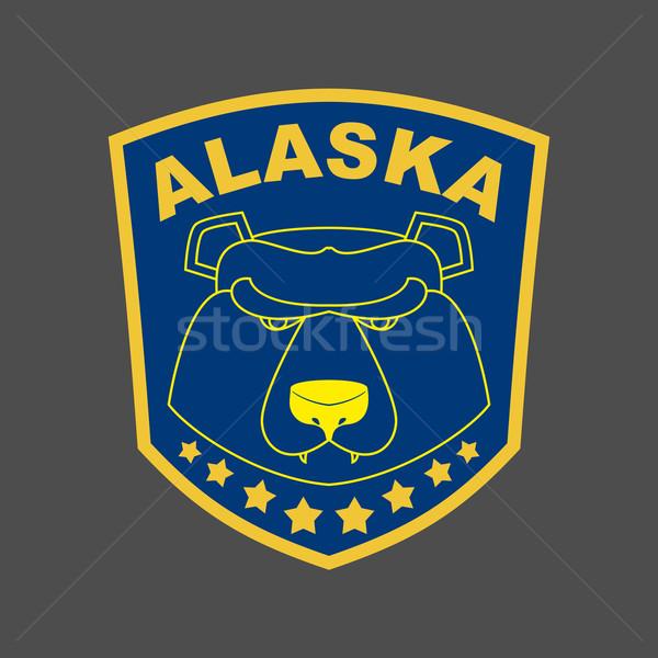 Alaska ponosi naszywka godło kaganiec logo Zdjęcia stock © popaukropa