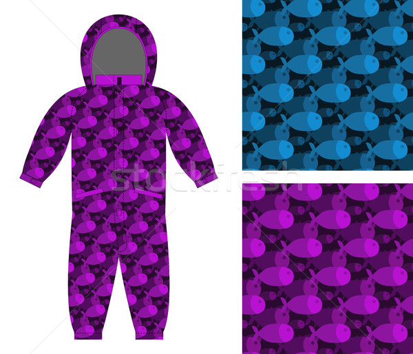 Childrens apparel template. Jumpsuit with pattern of fish. 3D ba Stock photo © popaukropa