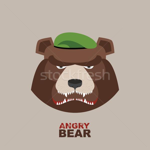 Tenha soldado verde boina zangado animal Foto stock © popaukropa