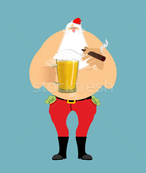 Bad Santa with beer and cigar. Santa Claus. money in pocket. dri Stock photo © popaukropa
