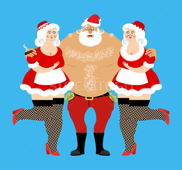 Santa Claus and sexy girls. Entertainment for adults. Strippers  Stock photo © popaukropa