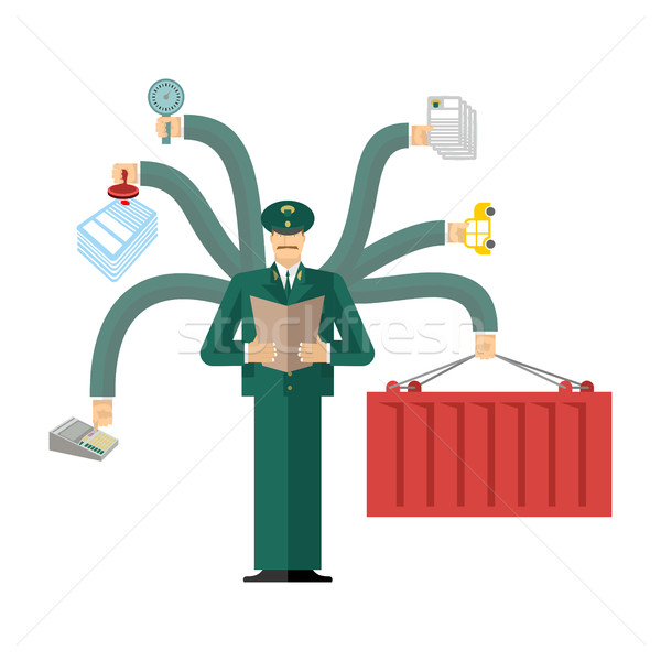 Russian Customs Service at work. officer job. Checking of cargo. Stock photo © popaukropa