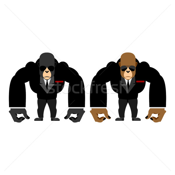 Gorilla bouncer. Big strong animal guard. Monkey in black suit b Stock photo © popaukropa