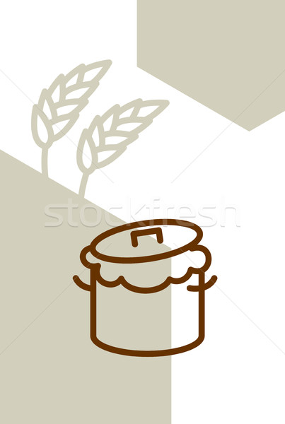 Bakery template design blank, poster. Pan with dough and wheat e Stock photo © popaukropa