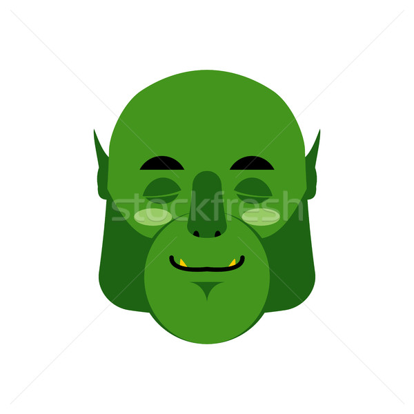 Ogre sleeping Emoji. Goblin asleep emotion isolated. Green monst Stock photo © popaukropa