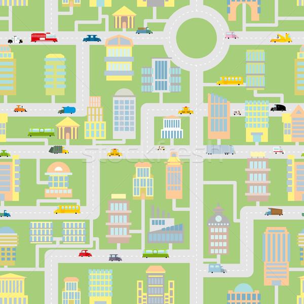 Stad moderne metropolis gebouwen auto Stockfoto © popaukropa