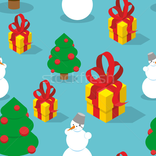 Stock photo: Snowman and Christmas tree seamless pattern. Holiday background