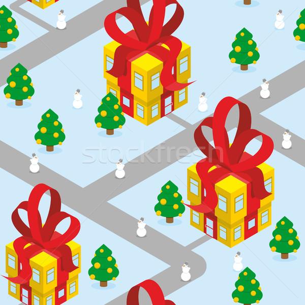 Gift Christmas city seamless pattern. Fantastic urban district.  Stock photo © popaukropa