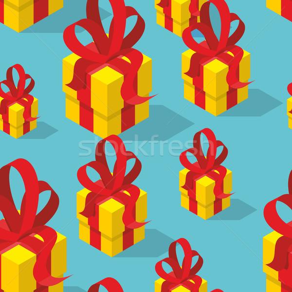 Stock fotó: Ajándékok · végtelen · minta · citromsárga · ajándék · doboz · íj · ünnepi
