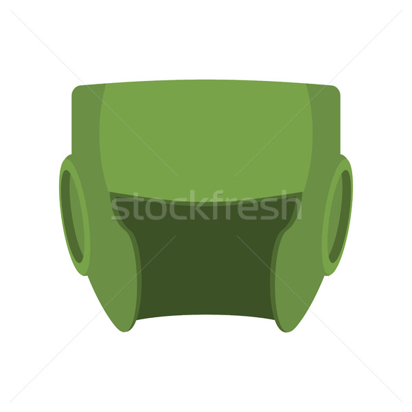 Boxing helmet green. Boxer mask isolated. Spor Accessory for tra Stock photo © popaukropa