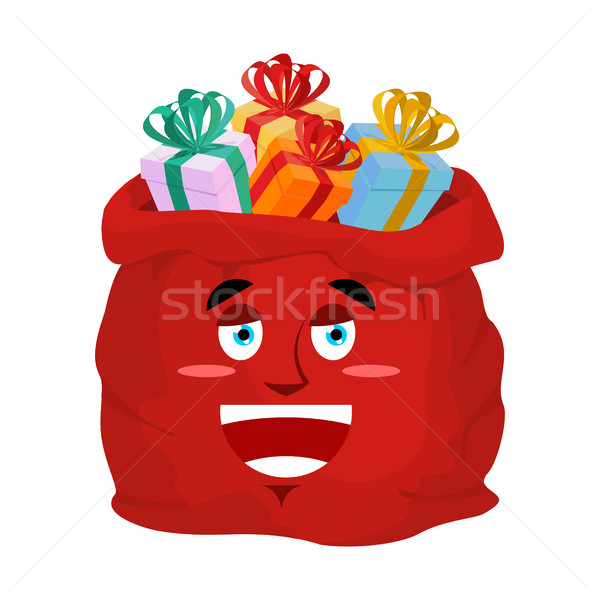 Santa bag laugh Emoji. Christmas sack with gifts sorrowful emoti Stock photo © popaukropa