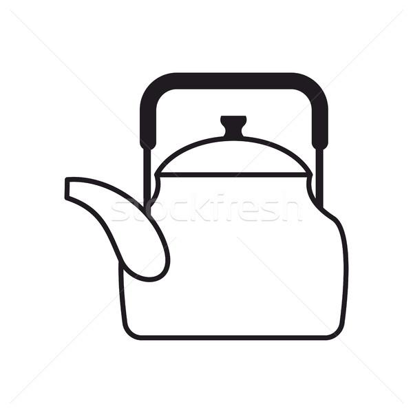 Tetera aislado cocina blanco metal Foto stock © popaukropa