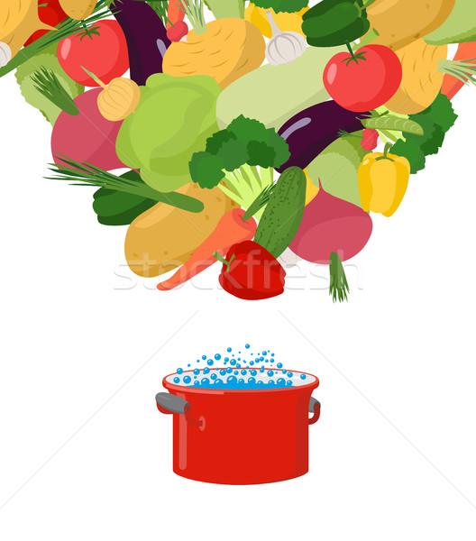 Foto stock: Hortalizas · sopa · de · verduras · comida · vegetariana · cubrir · menú