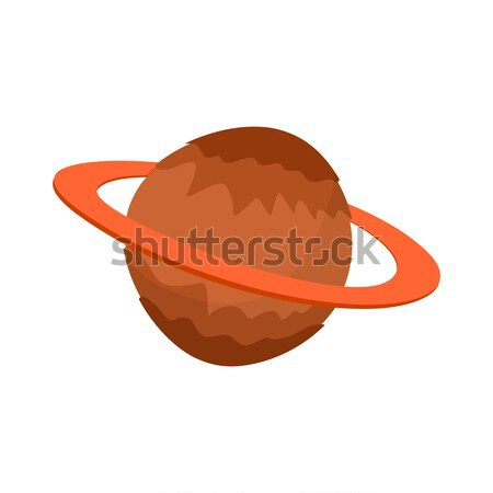 Saturn isolated cartoon style. Planet of solar system on white b Stock photo © popaukropa
