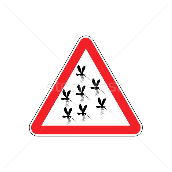 Atención mosquitos rojo triángulo alerta senalización de la carretera Foto stock © popaukropa