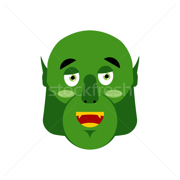 Ogre happy Emoji. Goblin merry emotion isolated. Green monster f Stock photo © popaukropa