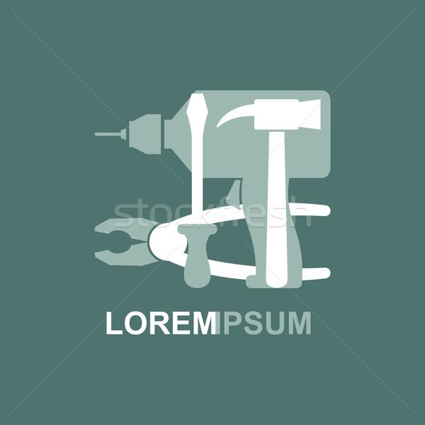 Logo araçları marangozluk tornavida matkap Stok fotoğraf © popaukropa