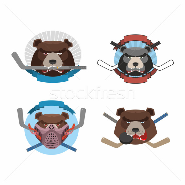 Hockey logo bear set. Muzzle animals with sticks for ice hockey  Stock photo © popaukropa