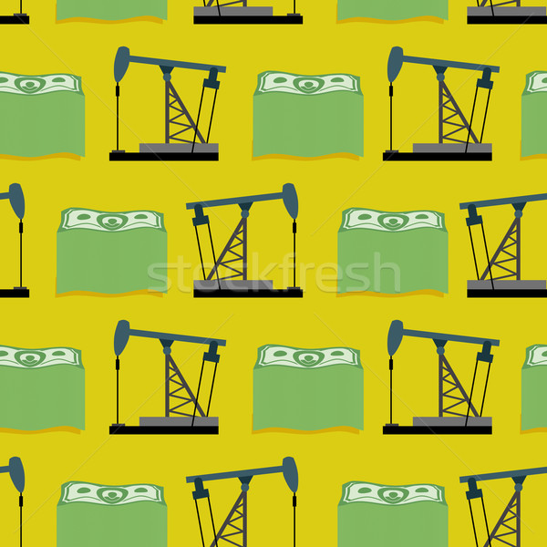 Stock photo: Oil rig and a bundle of money seamless pattern. Vector rich back