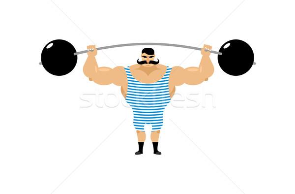 Stok fotoğraf: Bağbozumu · eski · atlet · Retro · vücut · geliştirmeci · halter