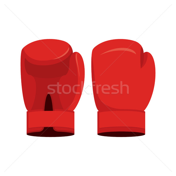 Red boxing gloves on a white background. Sports Accessory vector Stock photo © popaukropa
