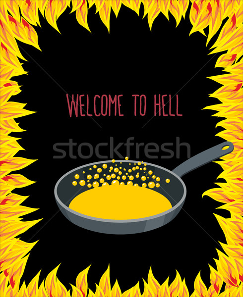 Heated frying pan with boiling oil for sinners. flames of hell.  Stock photo © popaukropa